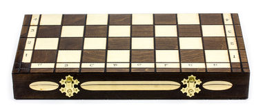 Wooden chess board  on white background Royalty Free Stock Photography