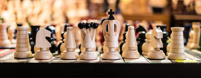 Wooden chess on board Royalty Free Stock Photography