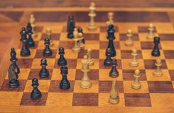 A wooden chess board royalty free stock photo