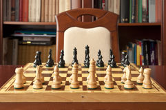 Wooden chess figurines Stock Images
