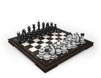 Wooden chess laid in the original position on the chessboard iso. Wooden chess laid in the original position on the chessboard Royalty Free Stock Photo