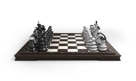Wooden chess laid in the original position on the chessboard iso. Wooden chess laid in the original position on the chessboard Stock Photos