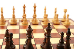 Wooden Chess On Wooden Chessboard Stock Image