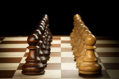 Wooden chess pawn Stock Photo