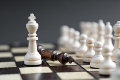 Wooden chess piece. Isolated background Royalty Free Stock Photos