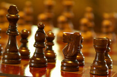 Wooden Chess Pieces. Close up image of a wooden chess set royalty free stock images