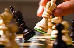 Wooden chess pieces Stock Photos