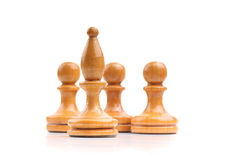 Wooden chess pieces alone isolated on white Stock Photography