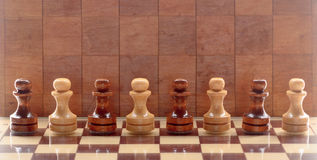Wooden chess pieces Stock Images