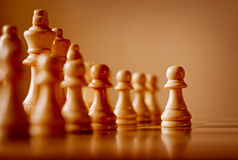 Wooden chess pieces on a chessboard Royalty Free Stock Photo