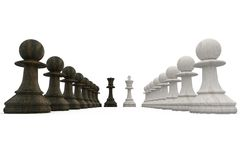Wooden chess pieces facing off Stock Photos