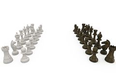 Wooden chess pieces facing off Royalty Free Stock Photos