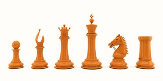 Wooden chess pieces on white background. Illustration of wooden chess pieces standing in a row isolated on white background vector illustration