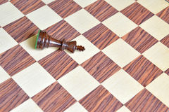 Wooden Chess pieces on wooden board Royalty Free Stock Images