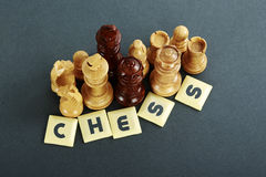 Wooden Chess Pieces. Wooden  yellow  and  brown chess pieces in the isolated  background Royalty Free Stock Images