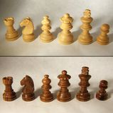 Wooden chess set Royalty Free Stock Images