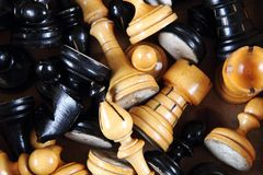 Wooden chess set background Stock Photography