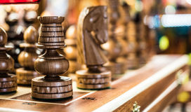 Wooden chess in a shop Stock Photo