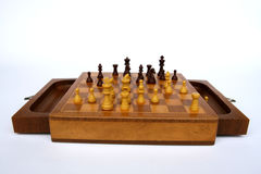 Wooden chess table Stock Images