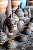 Wooden chess were lined on the board. Ancient Thai wooden chess were lined on the board Royalty Free Stock Photo