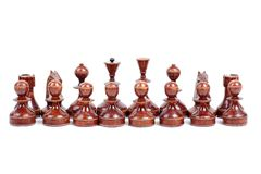 Wooden chess on white Royalty Free Stock Images