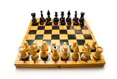 Wooden chessboard. With the chessmen Royalty Free Stock Image