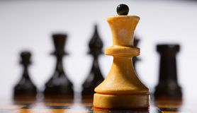 Wooden chessboard Stock Photos