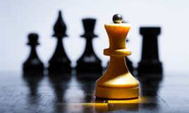 Wooden chessboard Stock Photo