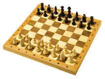 Wooden Chessboard. A wooden chessboard isolated on a white background Royalty Free Stock Images