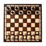 Wooden chessboard with chessmen Royalty Free Stock Images