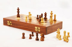 Wooden chessboard. Royalty Free Stock Images