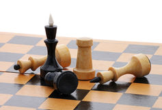 Wooden chessboard with several chessmen Stock Photo