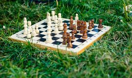 Wooden chessboard with white and brown figures lies on the grass in the park. Hobby, education, intellect. Ual game stock images