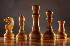 Wooden chesspieces Royalty Free Stock Images