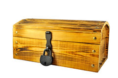 Wooden chest. An old closed antique wooden box. Could be used as a treasure chest. Isolated Royalty Free Stock Image