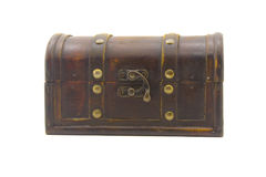 Wooden chest. Brown wooden chest the isolated Stock Photo