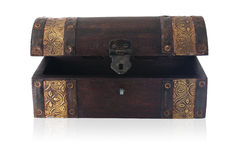 Wooden chest ajar. A small wooden chest of Asian origin royalty free stock photo