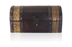 Wooden chest closed. A small wooden chest of Asian origin royalty free stock image