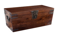 Wooden chest closed. A handmade walnut chest closed stock photos