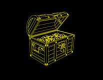 Wooden chest with coins. Vector outline illustration.  royalty free illustration