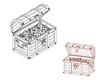 Wooden chest with coins. Vector outline illustration. Isometric projection stock illustration