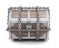 Wooden chest entangled chains. 3d rendering. Royalty Free Stock Photos