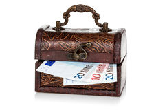 Chest with Euro currency inside Stock Photos