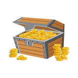 Wooden Chest Filled With Golden Coins, Hidden Treasure And Riches For Reward In Flash Came Design Variation Stock Image
