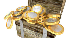 Wooden chest full of coins isolated Royalty Free Stock Photos