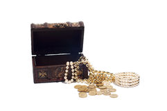 Wooden chest full of jewels and coins,  Royalty Free Stock Photography