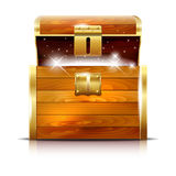 Wooden chest with glowing treasure on white background Stock Photography