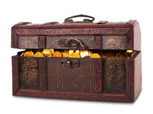 Wooden chest with gold coins Royalty Free Stock Photography