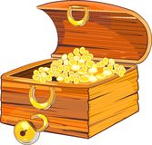 Wooden chest with gold Stock Photo