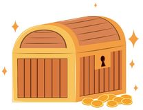Wooden chest and gold coins Royalty Free Stock Image